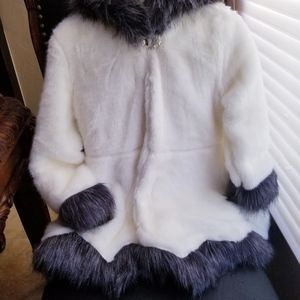 Faux Fur Jacket with Contrast Trim and Hood